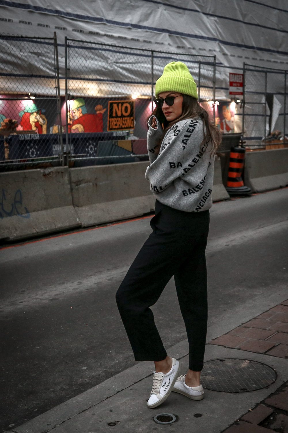 Nathalie Martin wearing Balenciaga cropped logo sweater, Aritzia black Jallade pant, Saint Laurent white canvas court sneakers, Aritzia navy pinstripe Stedman coat, neon green beanie, Bonlook Way sunglasses, street style, woahstyle.com_3918.jpg