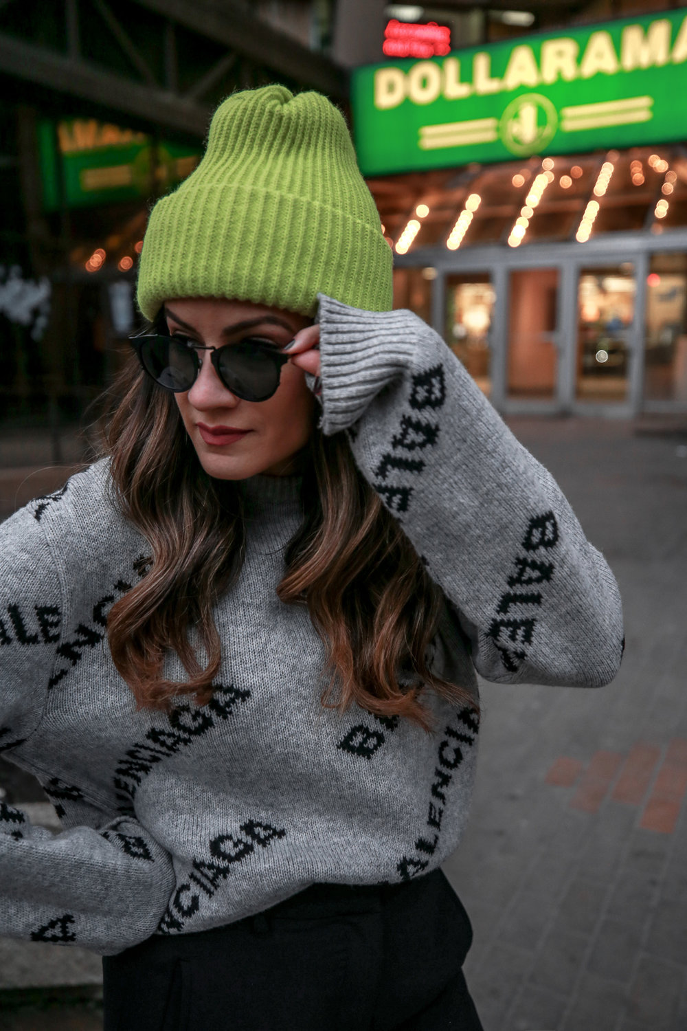 Nathalie Martin wearing Balenciaga cropped logo sweater, Aritzia black Jallade pant, Saint Laurent white canvas court sneakers, Aritzia navy pinstripe Stedman coat, neon green beanie, Bonlook Way sunglasses, street style, woahstyle.com_3934.jpg