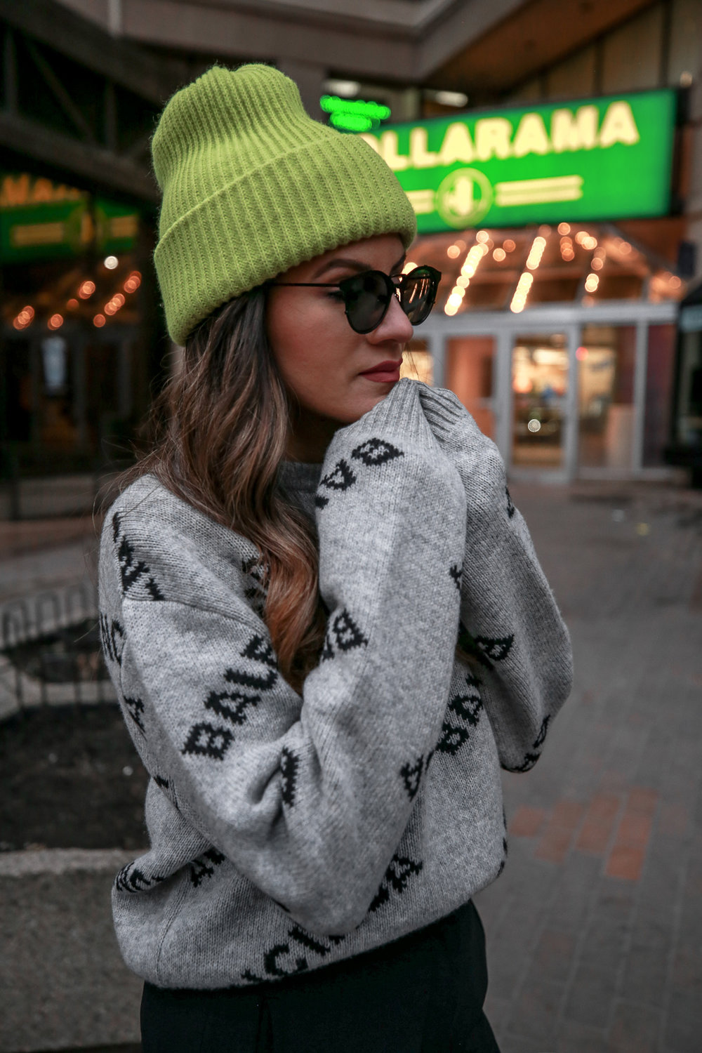 Nathalie Martin wearing Balenciaga cropped logo sweater, Aritzia black Jallade pant, Saint Laurent white canvas court sneakers, Aritzia navy pinstripe Stedman coat, neon green beanie, Bonlook Way sunglasses, street style, woahstyle.com_3936.jpg