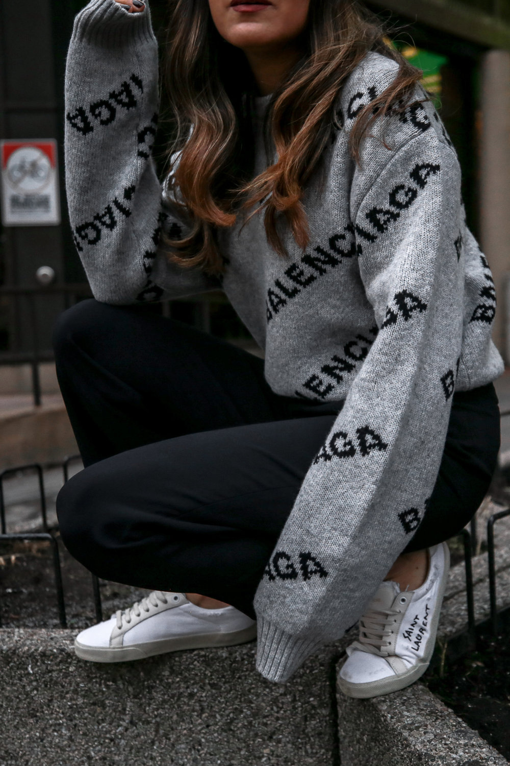 Nathalie Martin wearing Balenciaga cropped logo sweater, Aritzia black Jallade pant, Saint Laurent white canvas court sneakers, Aritzia navy pinstripe Stedman coat, neon green beanie, Bonlook Way sunglasses, street style, woahstyle.com_3923.jpg