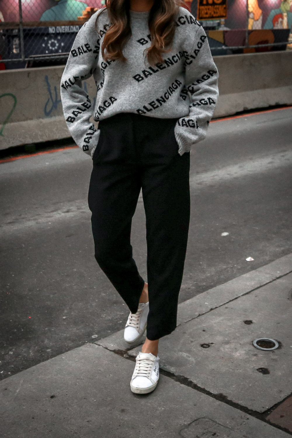 Nathalie Martin wearing Balenciaga cropped logo sweater, Aritzia black Jallade pant, Saint Laurent white canvas court sneakers, Aritzia navy pinstripe Stedman coat, neon green beanie, Bonlook Way sunglasses, street style, woahstyle.com_3921.jpg