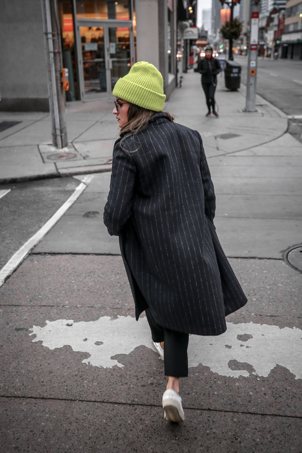 Nathalie Martin wearing Balenciaga cropped logo sweater, Aritzia black Jallade pant, Saint Laurent white canvas court sneakers, Aritzia navy pinstripe Stedman coat, neon green beanie, Bonlook Way sunglasses, street style, woahstyle.com_3972.jpg