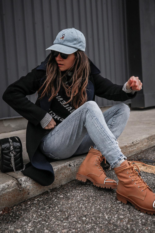 Nathalie Martin wearing Balenciaga black logo sweater, GRLFRND Denim Karolina jeans from Revolve, Saint Laurent LouLou small bowling bag, Alexander Wang Lyndon combat boots, Rag & Bone reversible wool coat, street style, woahstyle.com_4684.jpg
