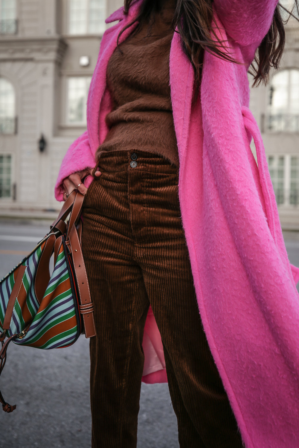 Nathalie Martin wearing Helmut Lang pink belt tie wool coat, brown corduroy pants, Zara brown textured sweater, Prada brown suede mules, Loewe striped Hammock bag, Bonlook Class sunglasses, street style, woahstyle.com_5220.jpg