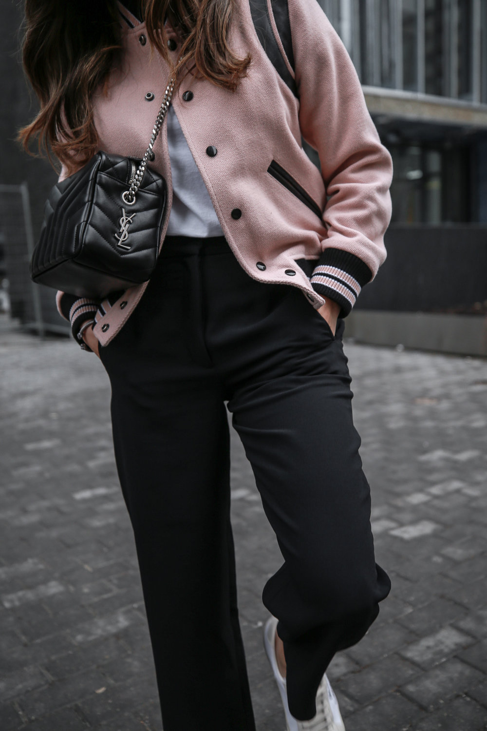 Nathalie Martin wearing Saint Laurent pink Teddy Jacket, YSL Lou Lou small bowling bag, white canvas sneakers, Aritzia Jallade Pant, street style, woahstyle.com_4058-2.jpg