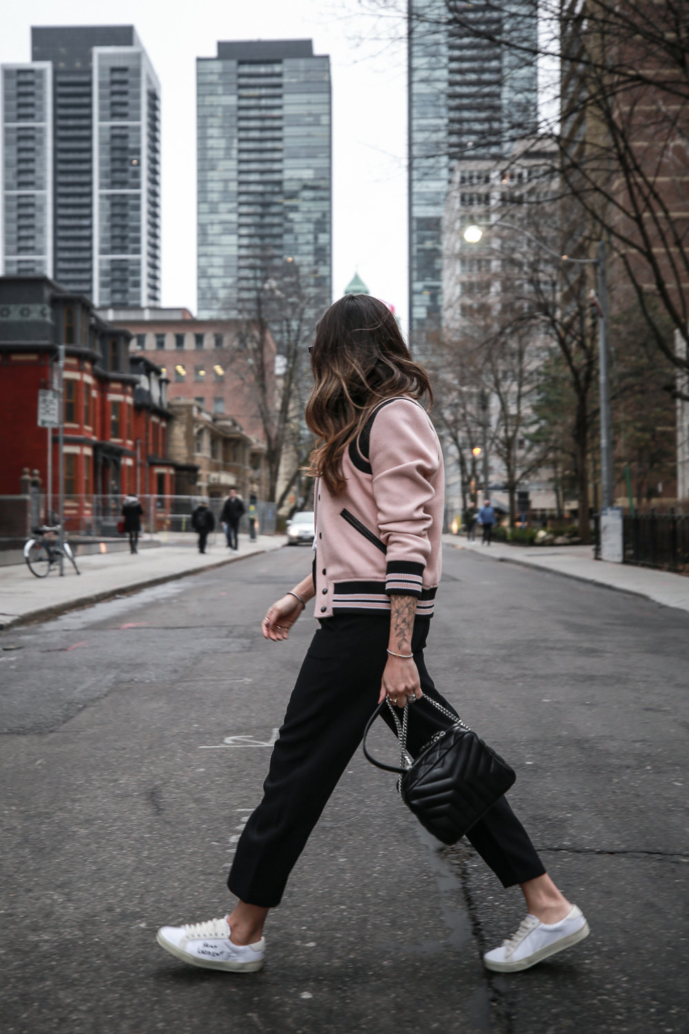 Nathalie Martin wearing Saint Laurent pink Teddy Jacket, YSL Lou Lou small bowling bag, white canvas sneakers, Aritzia Jallade Pant, street style, woahstyle.com_4055-2.jpg