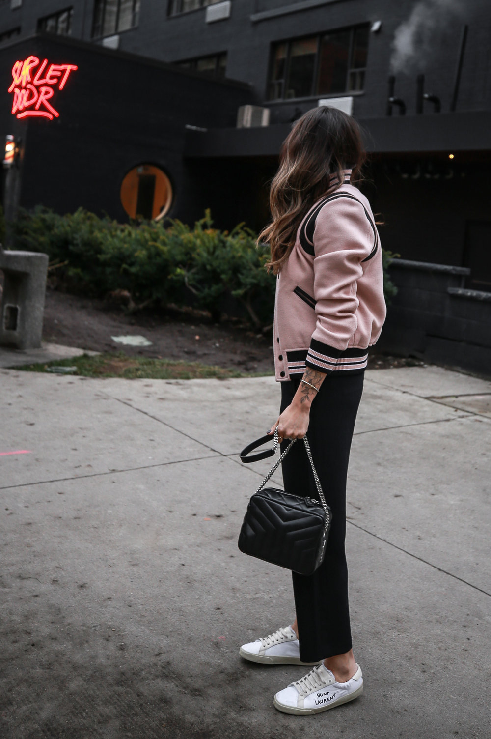 Nathalie Martin wearing Saint Laurent pink Teddy Jacket, YSL Lou Lou small bowling bag, white canvas sneakers, Aritzia Jallade Pant, street style, woahstyle.com_4003-2.jpg
