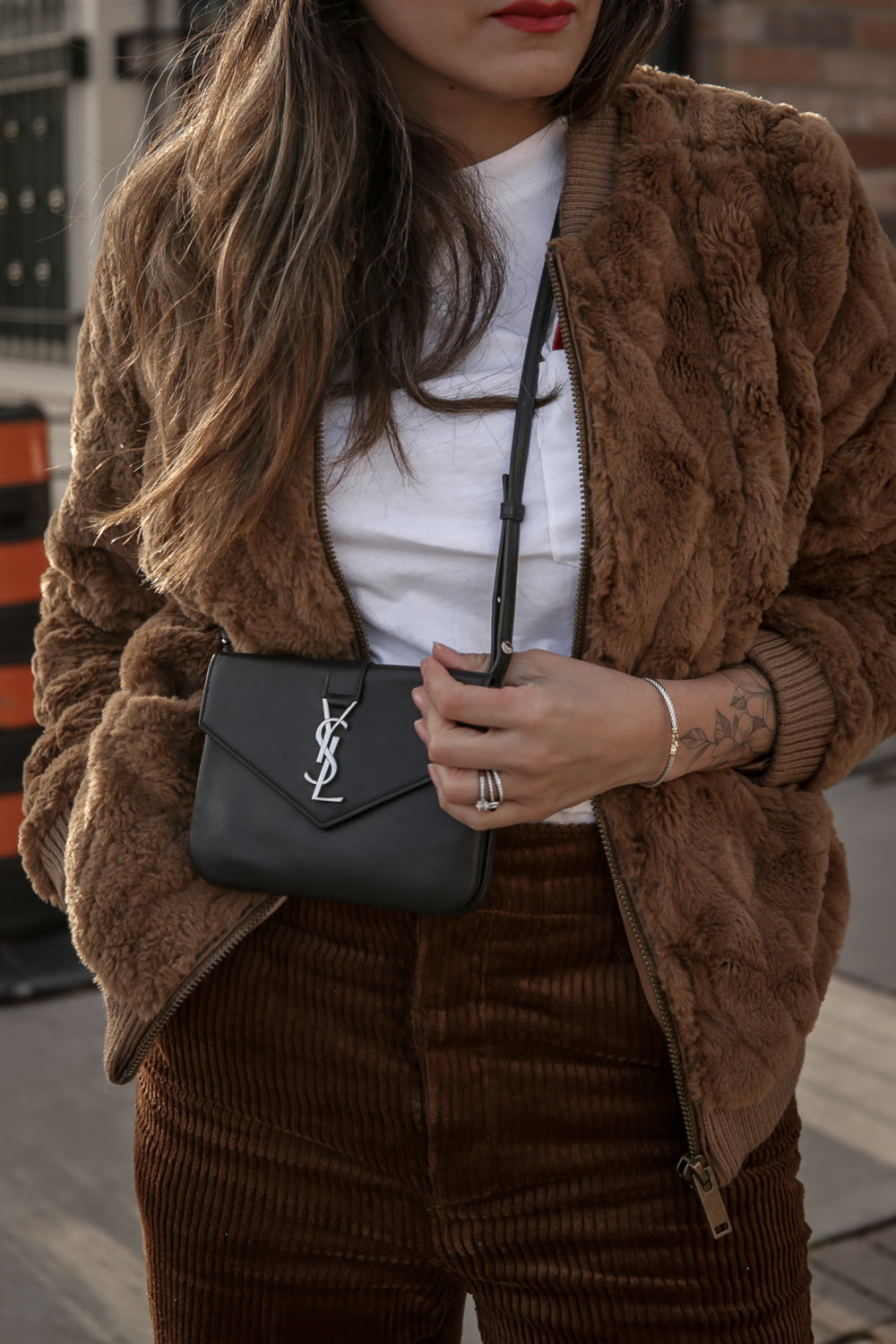 Nathalie Martin wearing brown teddy bear bomber jacket, corduroy pants, Sandro LOVE t-shirt, white sneakers, Saint Laurent Paris black bag, ivory Acne Studios Pansy face beanie, street style, Luka Sabbat inspired, woahstyle.com_4963.jpg
