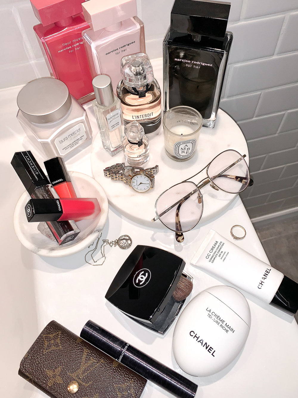 my topshelfie perfum collection - givenchy L'Interdit, NARCISO RODRIGUEZ for HER collection, Laura Mercier Ambre Vanille perfume, chanel, NARS, woahstyle.com_3437-2.jpg