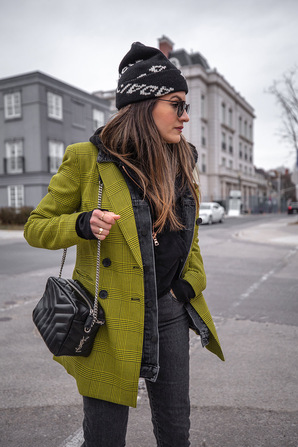 Nathalie Martin, Robert Rodriguez yellow plaid houndstooth blazer, Balenciaga logo beanie hat, Loewe velvet patent leather boots, grey jeans, Alexander Wang denim vest, Frank & Eileen hoodie, Saint Laurent LouLou bag, streetstyle woahstyle.com_6048.jpg