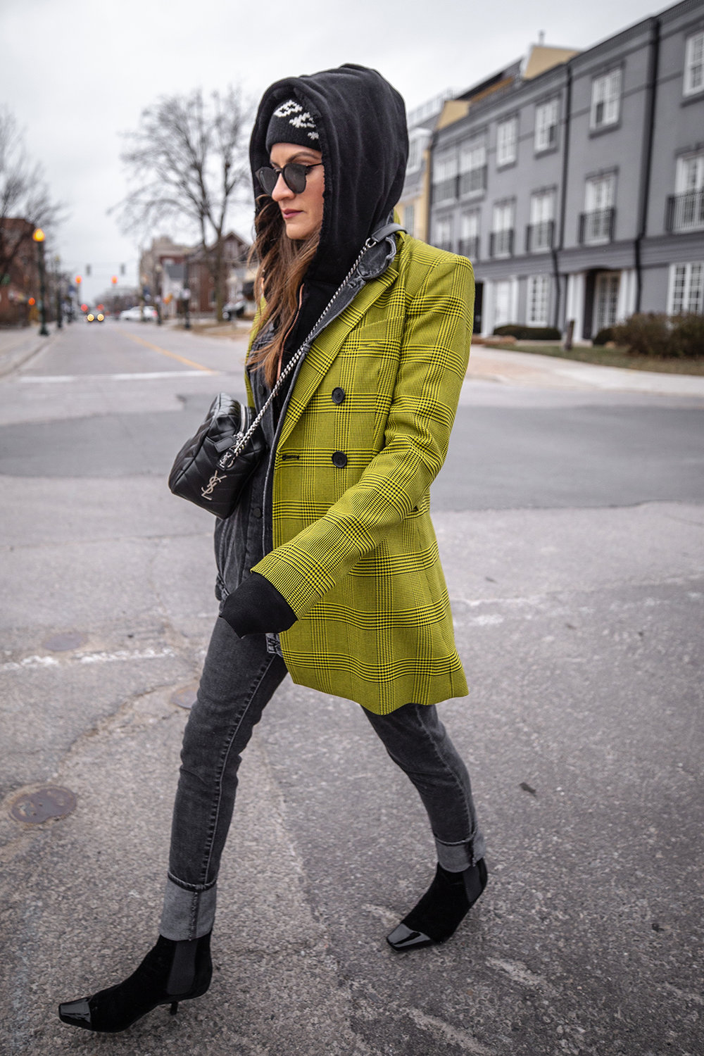 Nathalie Martin, Robert Rodriguez yellow plaid houndstooth blazer, Balenciaga logo beanie hat, Loewe velvet patent leather boots, grey jeans, Alexander Wang denim vest, Frank & Eileen hoodie, Saint Laurent LouLou bag, streetstyle woahstyle.com_6097.jpg