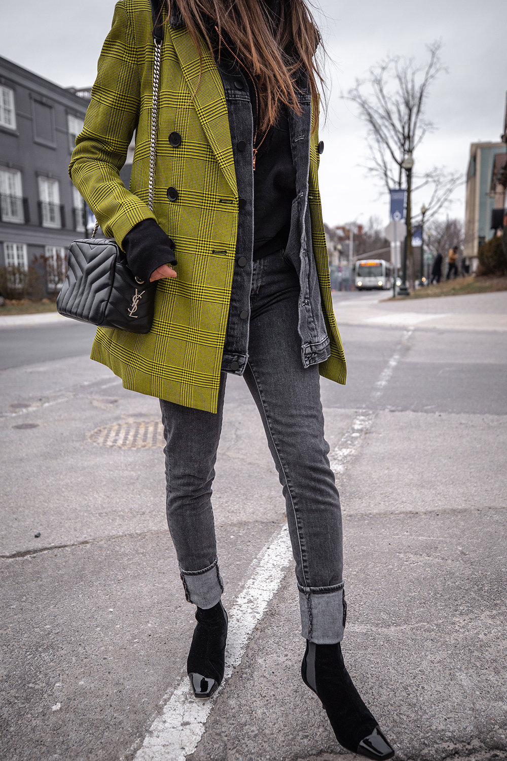 Nathalie Martin, Robert Rodriguez yellow plaid houndstooth blazer, Balenciaga logo beanie hat, Loewe velvet patent leather boots, grey jeans, Alexander Wang denim vest, Frank & Eileen hoodie, Saint Laurent LouLou bag, streetstyle woahstyle.com_6075.jpg