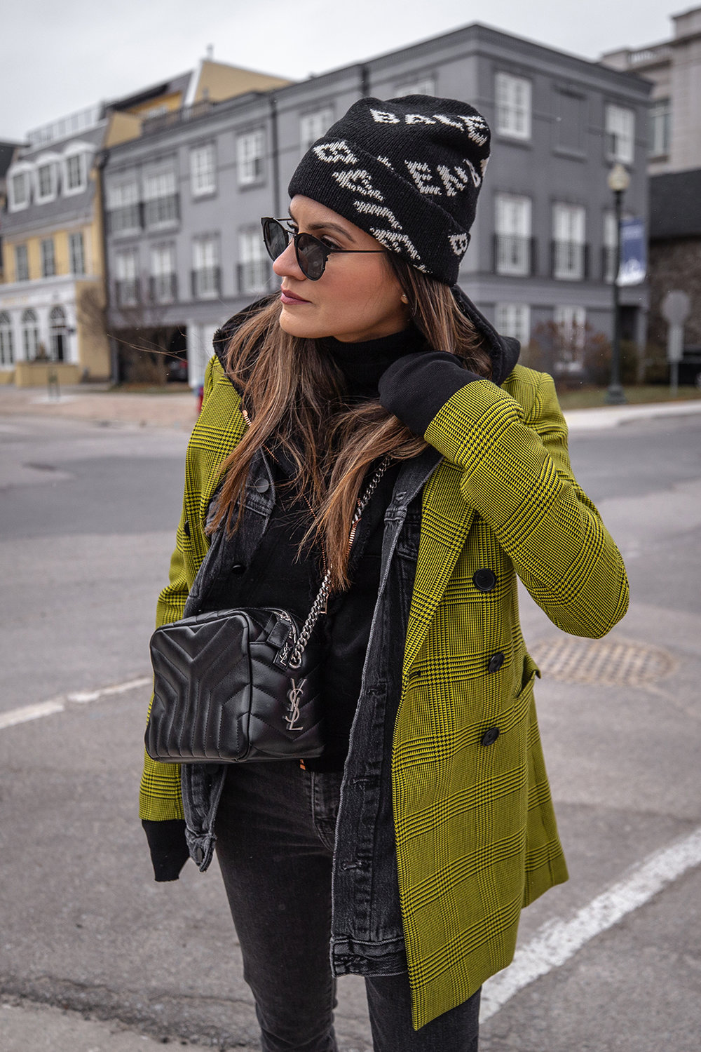 Nathalie Martin, Robert Rodriguez yellow plaid houndstooth blazer, Balenciaga logo beanie hat, Loewe velvet patent leather boots, grey jeans, Alexander Wang denim vest, Frank & Eileen hoodie, Saint Laurent LouLou bag, streetstyle woahstyle.com_6163.jpg