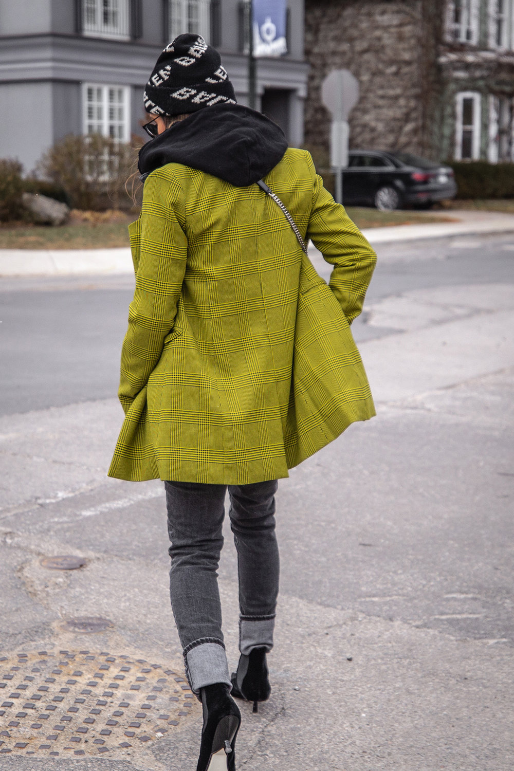 Nathalie Martin, Robert Rodriguez yellow plaid houndstooth blazer, Balenciaga logo beanie hat, Loewe velvet patent leather boots, grey jeans, Alexander Wang denim vest, Frank & Eileen hoodie, Saint Laurent LouLou bag, streetstyle woahstyle.com_6134.jpg