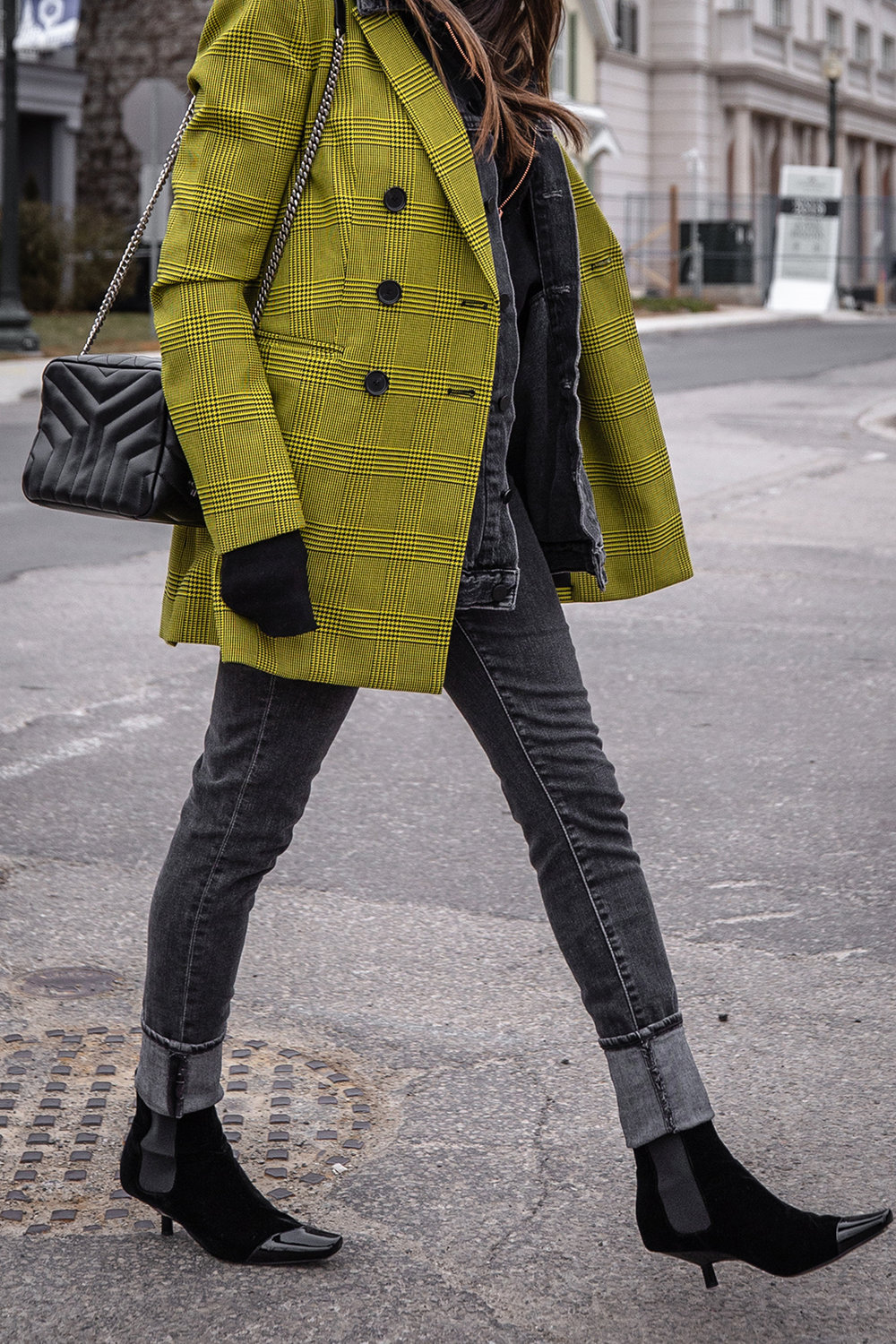 Nathalie Martin, Robert Rodriguez yellow plaid houndstooth blazer, Balenciaga logo beanie hat, Loewe velvet patent leather boots, grey jeans, Alexander Wang denim vest, Frank & Eileen hoodie, Saint Laurent LouLou bag, streetstyle woahstyle.com_6070.jpg