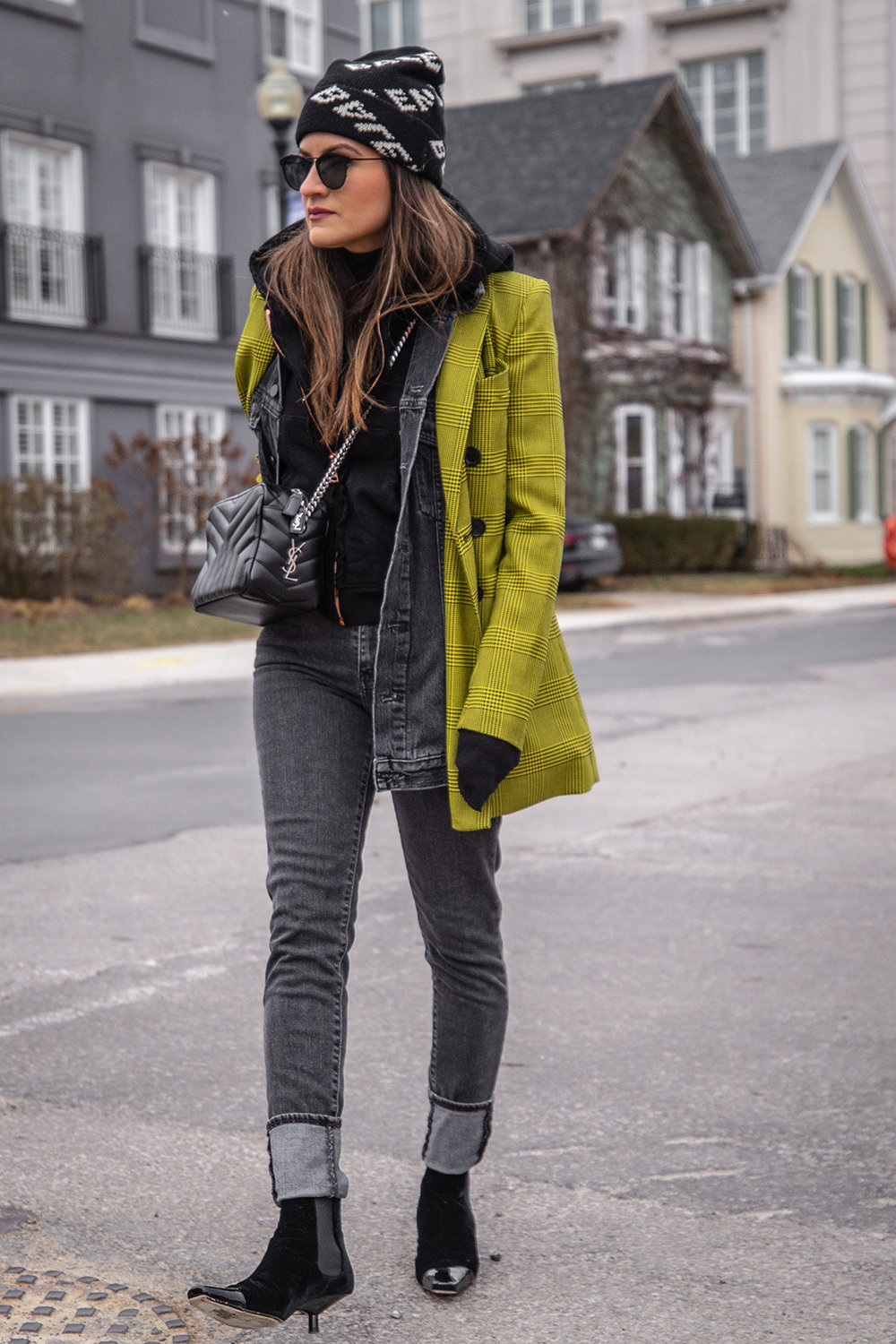 Nathalie Martin, Robert Rodriguez yellow plaid houndstooth blazer, Balenciaga logo beanie hat, Loewe velvet patent leather boots, grey jeans, Alexander Wang denim vest, Frank & Eileen hoodie, Saint Laurent LouLou bag, streetstyle woahstyle.com_6139.jpg