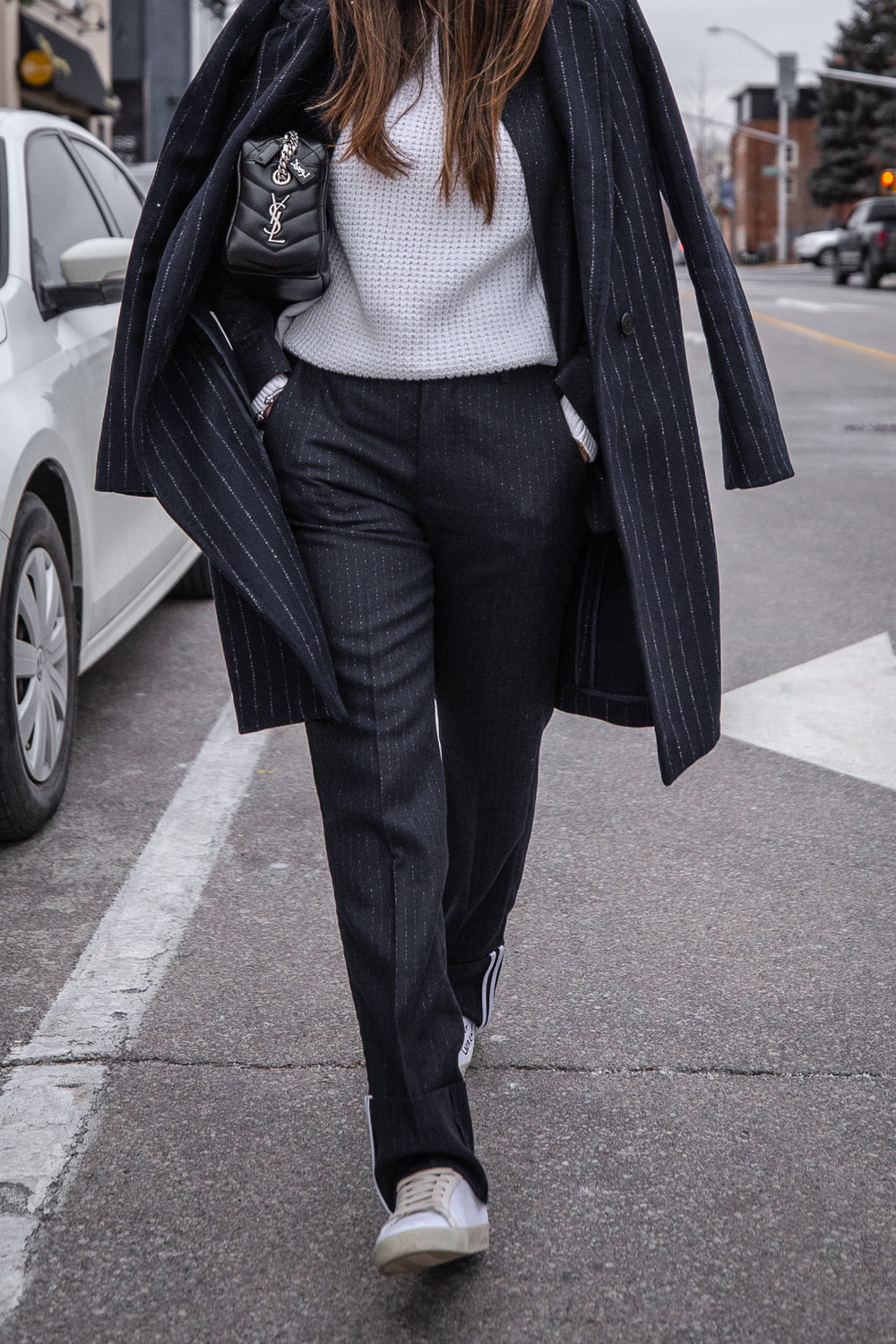 Nathalie Martin - Zadig & Voltaire pinstripe suit, Acne Studios white knitted sweater, Neon green beanie, Saint Laurent LouLou bowling bag and white canvas sneakers, Aritzia Stedman coat, street style, woahstyle.com_6000.jpg