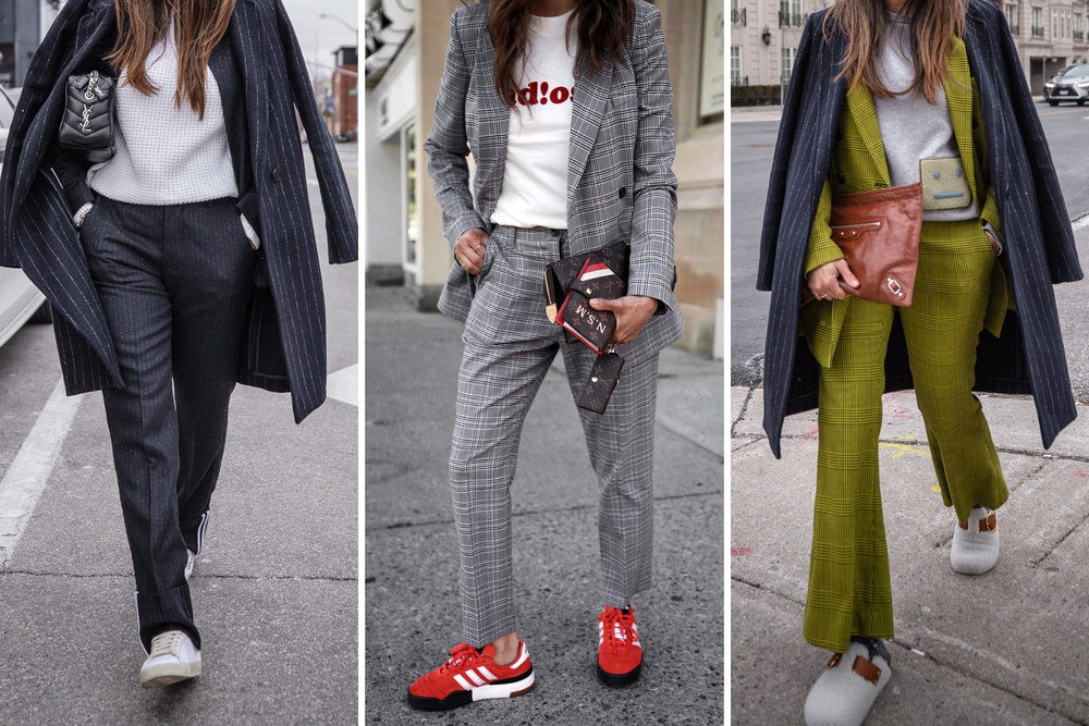 nathalie martin - suit essentials for every woman - zadig and voltaire pinstripe blazer and trousers, grey plaid suit, yellow plaid robert rodriguez double breasted blazer and trousers, isabel marant shearling mirvin mules - streetstyle, woahstyle.com.jpg