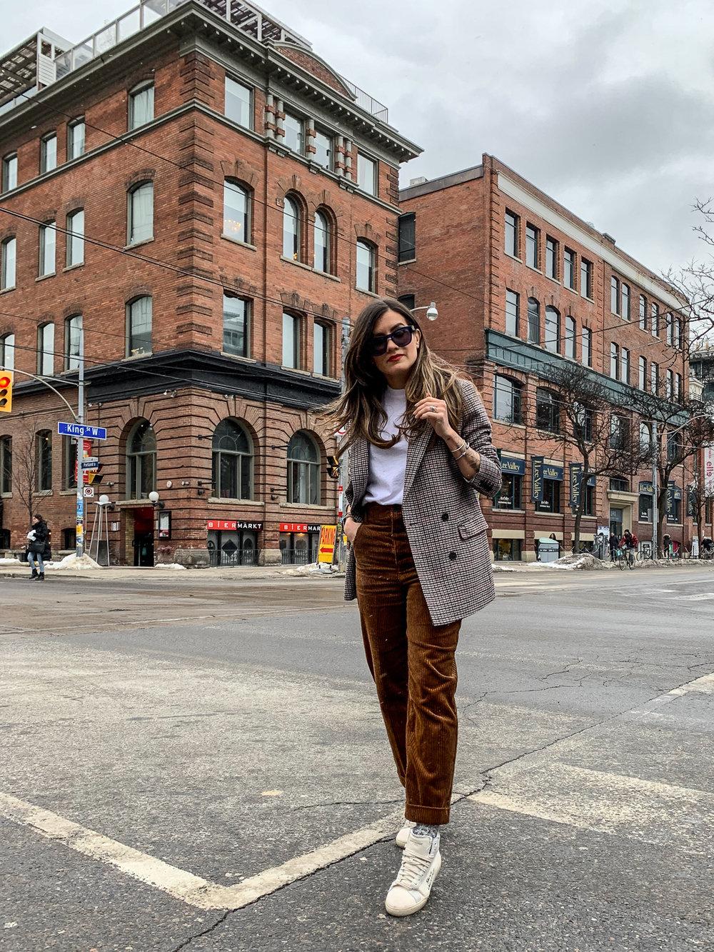 nathalie martin, brown corduroy pants, sandro paris t-shirt, frank and oak brown plaid oversized blazer, saint laurent high top canvas sneakers, woahstyle.com, street style_5183.jpg