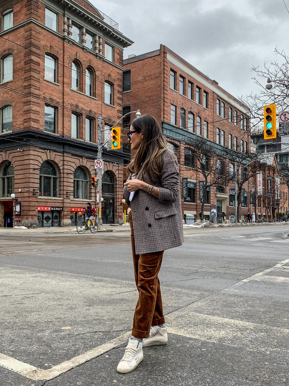 nathalie martin, brown corduroy pants, sandro paris t-shirt, frank and oak brown plaid oversized blazer, saint laurent high top canvas sneakers, woahstyle.com, street style_5192.jpg