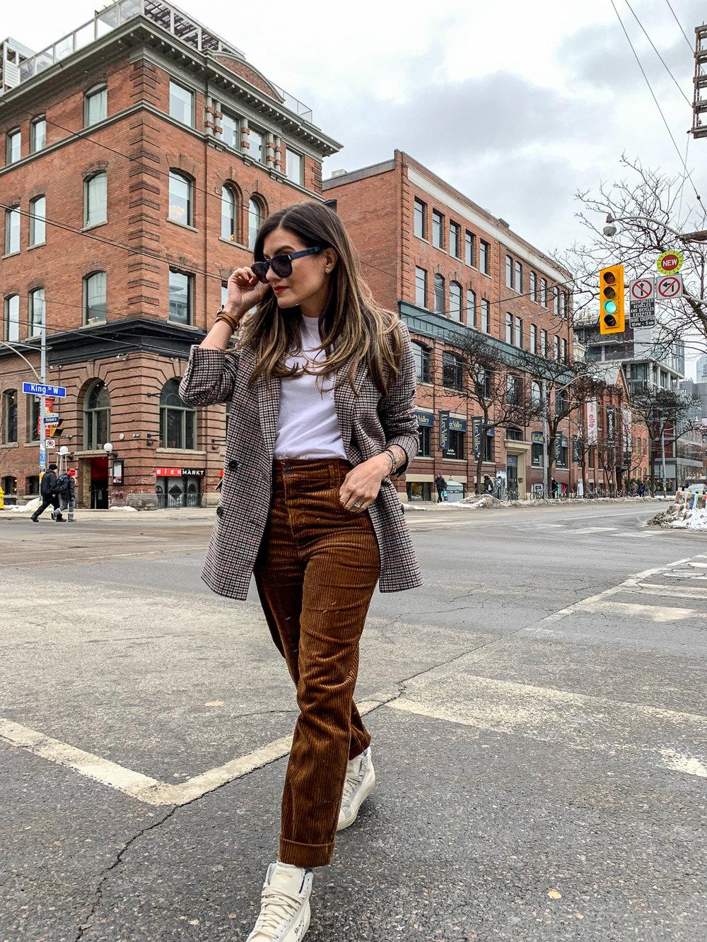 nathalie martin, brown corduroy pants, sandro paris t-shirt, frank and oak brown plaid oversized blazer, saint laurent high top canvas sneakers, woahstyle.com, street style_5200.jpg