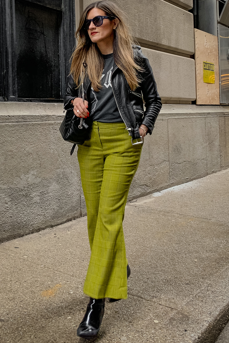 nathalie martin, anine bing bolt tshirt, yellow green robert rodriquez pants, 3.1 phillip lim patent leather boots, saint laurent lou lou bowling bag, the kooples leather moto jacket, YSL leather cuff, edgy street style, woahstyle.com_5935.jpg