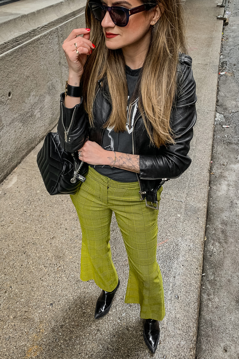 nathalie martin, anine bing bolt tshirt, yellow green robert rodriquez pants, 3.1 phillip lim patent leather boots, saint laurent lou lou bowling bag, the kooples leather moto jacket, YSL leather cuff, edgy street style, woahstyle.com_5953.jpg