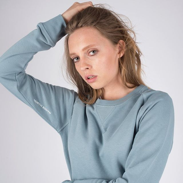 Hudson blue stitch sweat - perfect for this seasons changeable weather.  #model #london #fashion #womenswear #menswear #sustainable #ethicalfashion