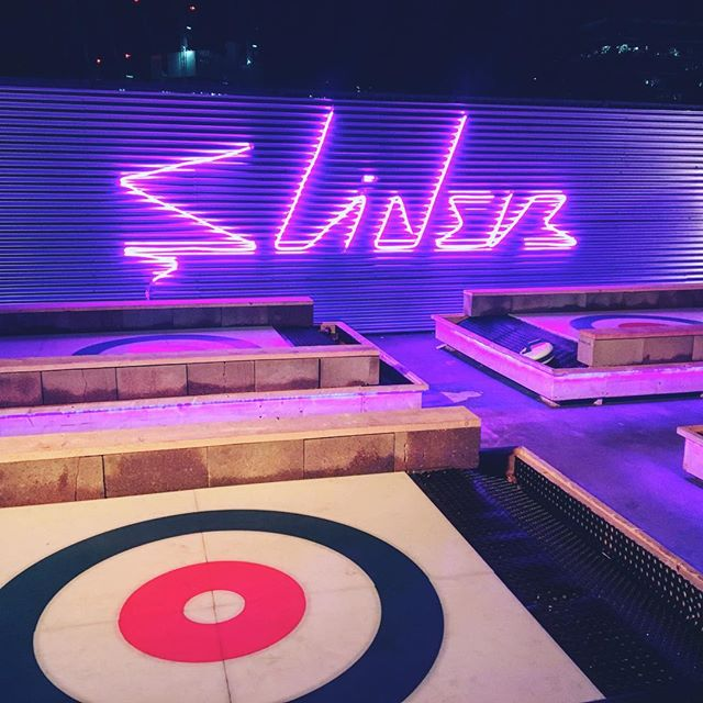Great night Curling at Sliders! Niche sports well done #curling #london #stones