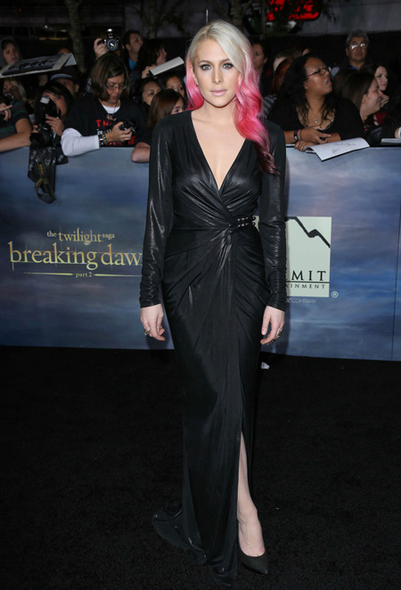 My girl Casey Labow rocking the pink hair we did on the black carpet premiere of her new film Twilight Breaking Dawn pt.2! Wearing a Versace gown styled by Christian Stroble. We worked so hard on this look!