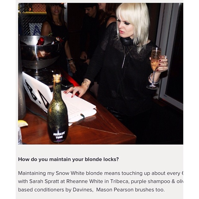 Thanks for the shoutout @beckadiamond! #galoremag #platinumhair #sarahsprattcolor