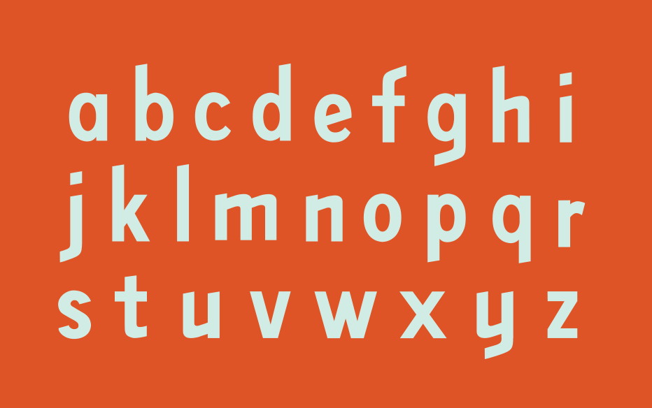 Lowercase letterforms