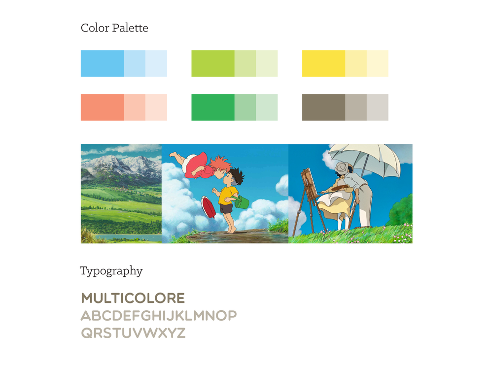 A youthful, fun color palette was inspired by the work produced by Studio Ghibli. Multicolore was the typeface chosen for the display.