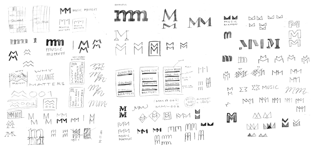 Preliminary sketches of logo ideas and how the logo could be integrated into the cover design. My goal was to create a typographic mark that could be used by itself and still be recognizable as part of the series.