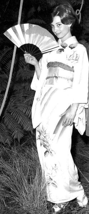 Audrey Hepburn in a Kimono circa 1960