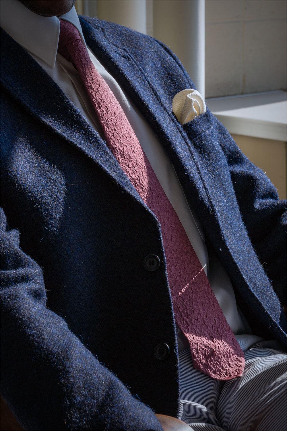 Smokey Purple Shibori Tie and White Kikko Pocket Square