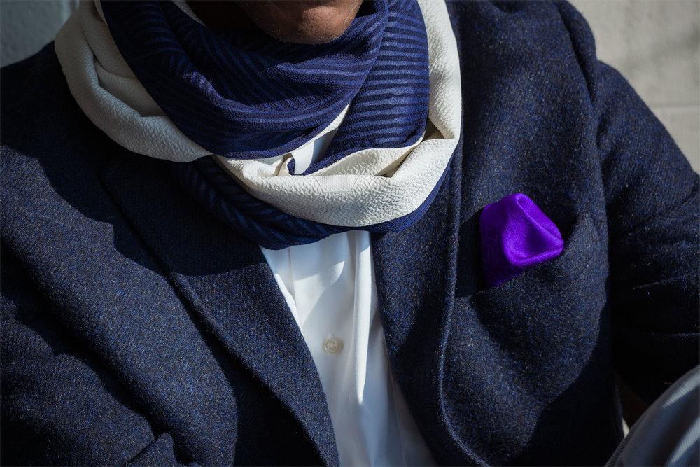 Nishijin Wave Infinity Scarf and Royal Purple Shippou Nami Pocket Square