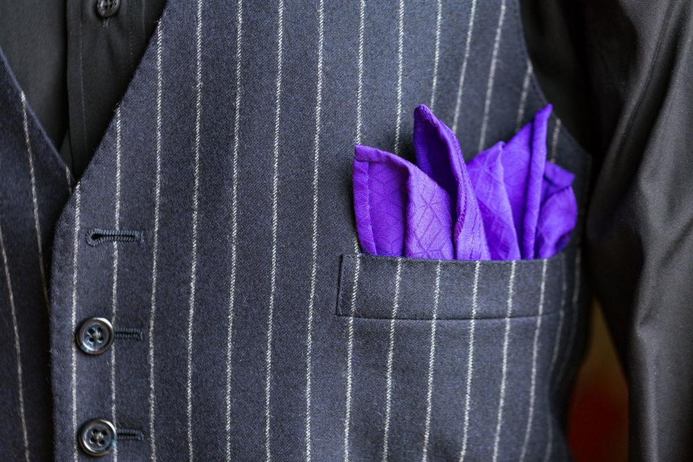 Royal Purple Shippou Nami Pocket Square
