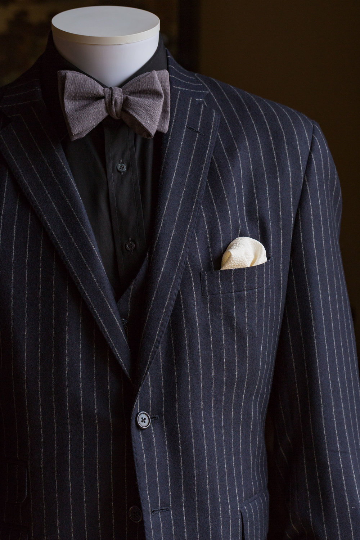 Yame Muji Bow Tie and White Kikko Pocket Square