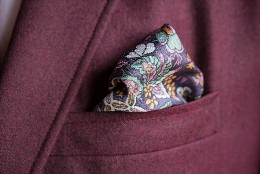Purple Karakusa Pocket Square