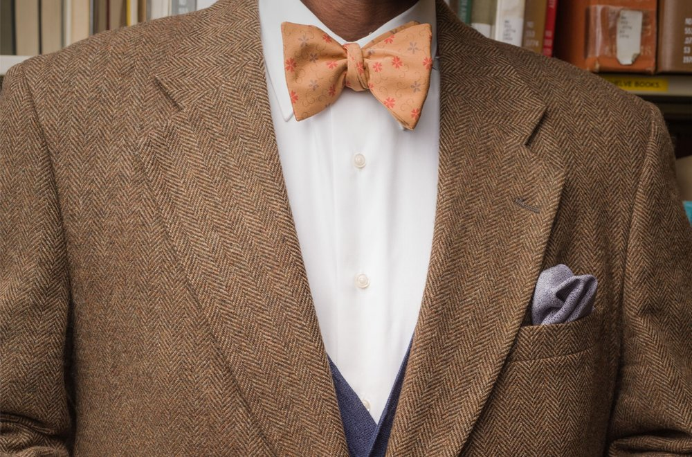 Gold Arabesque Bow Tie and Blue Silk Pocket Square