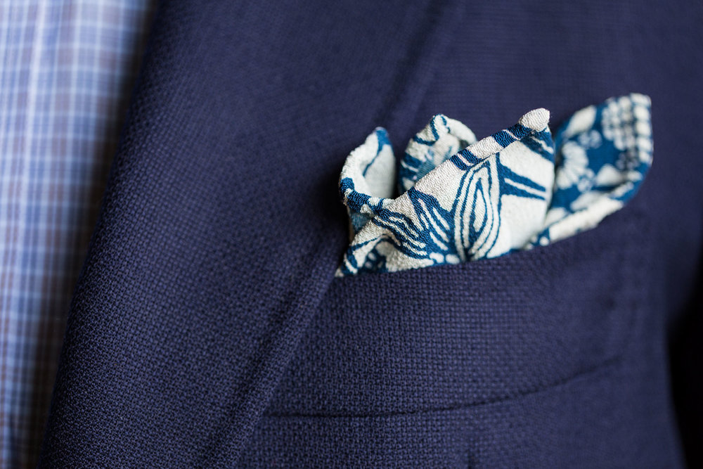 Blue and White Les Fauves Pocket Square