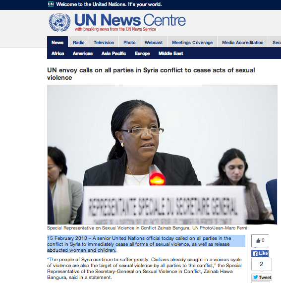 UN SRSG Zainab Bangura speaks out against sexual violence in Syria.