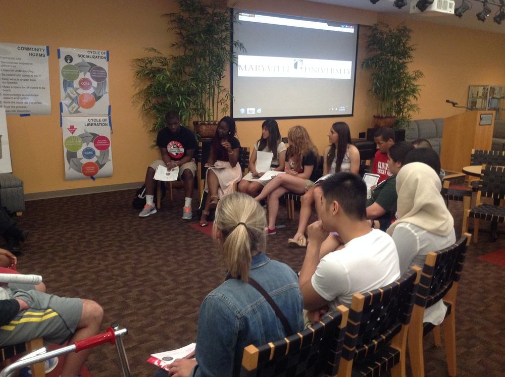 Participants at a Building Inclusive Campuses workshop series with the Multicultural Scholars Program at Maryville University.