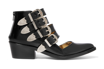 Pulla Buckle Cutout Glossed-Leather Ankle Boot by Toga