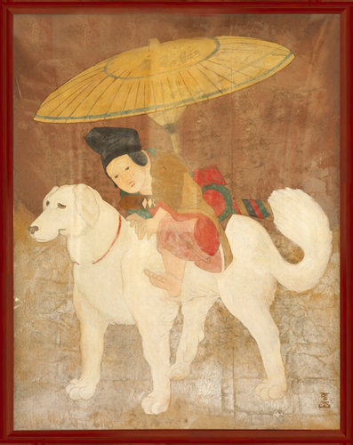 UNKNOWN<BR/>Japanese Boy Riding Dog