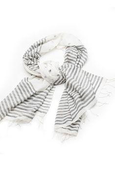 Indigo Handloom striped cotton scarf handmade in India.