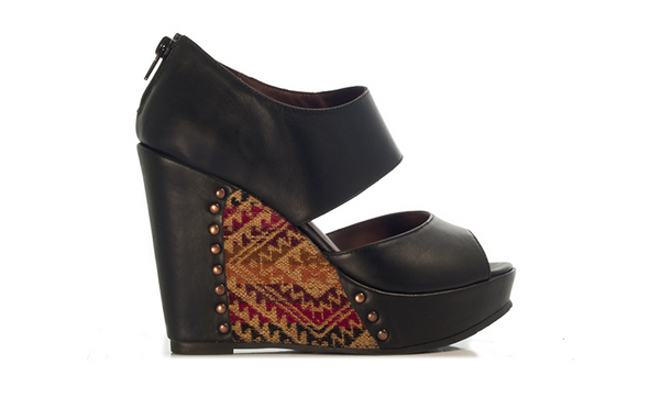 Fortress of Inca wedges. Reyna Agata black wedges. Black heels. Textile wedges. Fun summer heels.