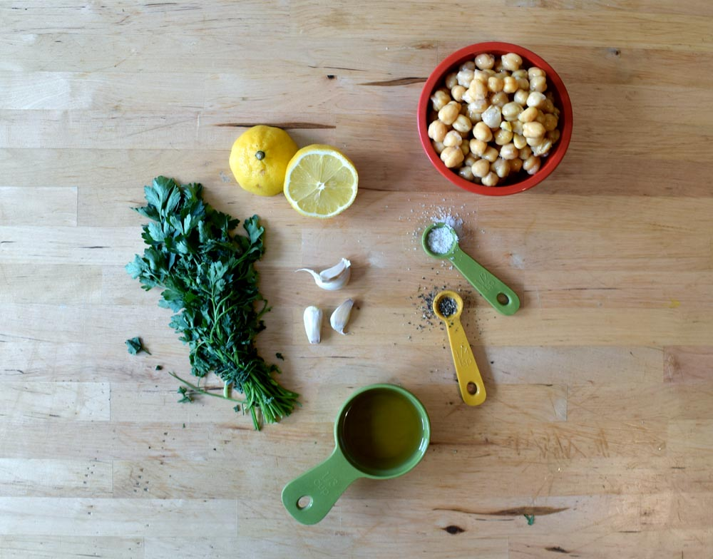 Ingredients for hummus. Hummus recipe. Vegan food. Mediterranean food.