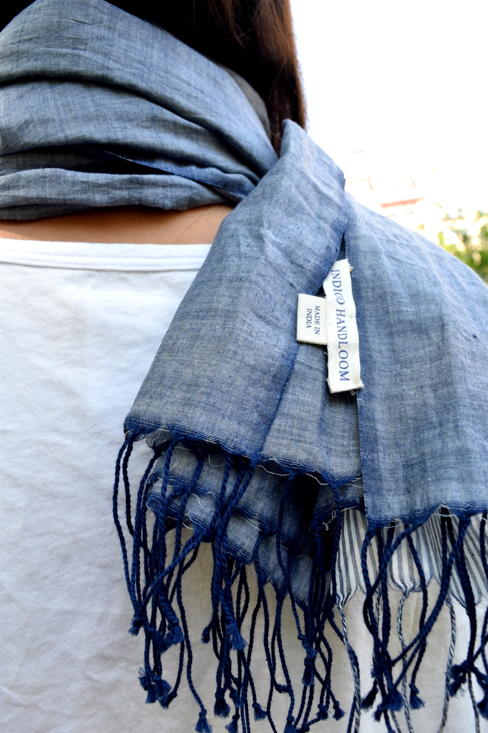 Indigo Handloom Faded Denim navy scarf, sustainable fashion accessories product review fayelessler.com Faye Lessler